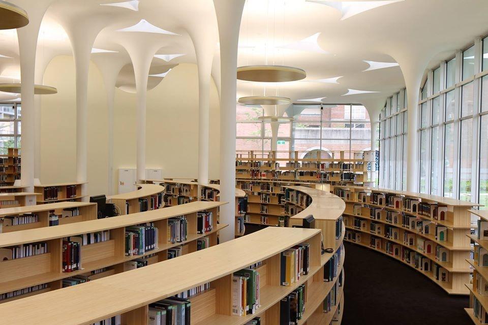 辜振甫先生紀念圖書館內設88根白色水泥柱,彷彿從地上長出的大樹。 圖擷自辜振甫先生紀念圖書館臉書